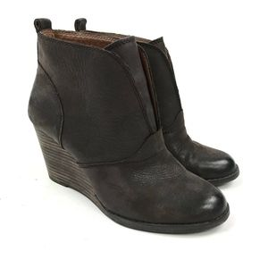 Lucky Brand Pull On Wedge Ankle Bootie Sz 7